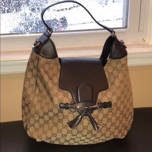6beba3644b3763 Gucci Bags | Emily Monogram Leather Hobo Brown Beige | Poshmark